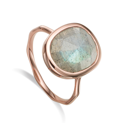 Rose Gold Vermeil Siren Medium Stacking Ring - Labradorite