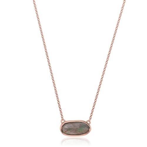 Rose Gold Vermeil Vega Necklace - Labradorite