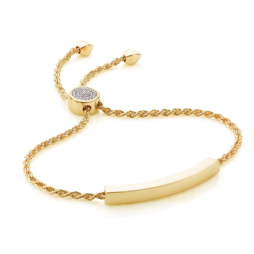 Gold Vermeil Linear Pave Toggle Chain Bracelet - Diamond