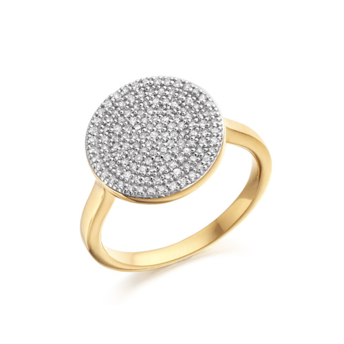 Gold Vermeil Ava Disc Ring - Diamond - Monica Vinader