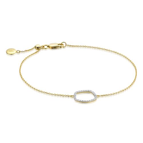Gold Vermeil Riva Diamond Hoop Chain Bracelet - Diamond - Monica Vinader