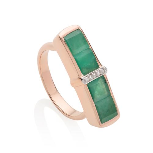 Rose Gold Vermeil Baja Precious Ring - Emerald - Monica Vinader