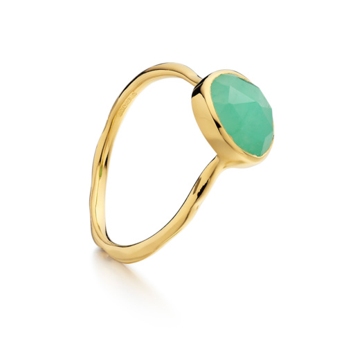 Gold Vermeil Siren Stacking Ring - Chrysophrase - Monica Vinader