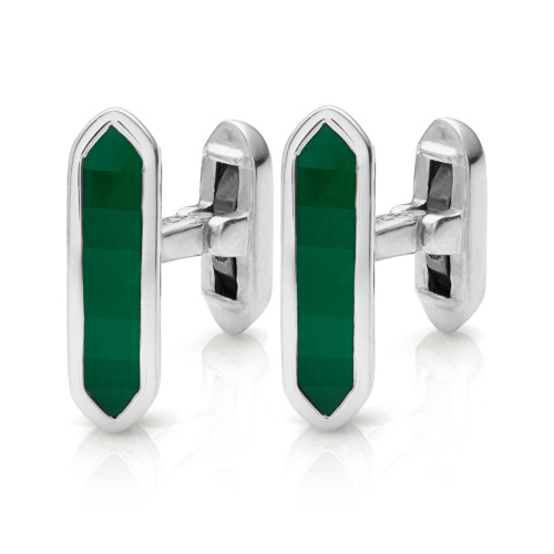 Baja Cufflinks - Green Onyx - Monica Vinader