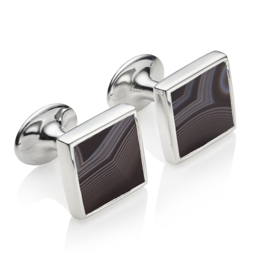 Square Cufflinks - Black Line Onyx