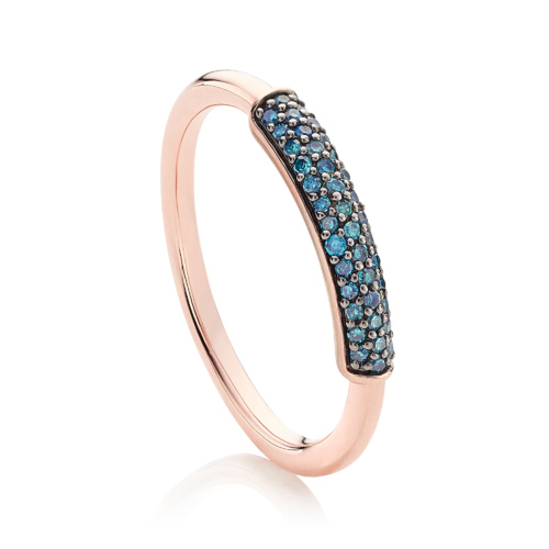 Rose Gold Vermeil Stellar Diamond Stacking Ring - Blue Diamond - Monica Vinader
