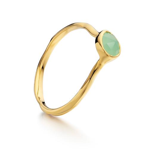Gold Vermeil Siren Small Stacking Ring - Chrysoprase - Monica Vinader