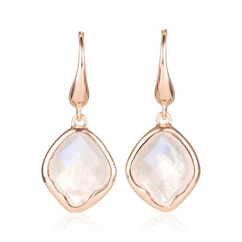 Rose Gold Vermeil Riva Wire Earrings - Moonstone - Monica Vinader