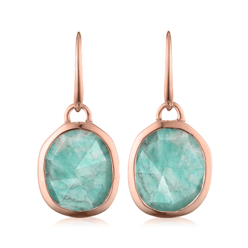 Rose Gold Vermeil Siren Wire Earrings - Amazonite