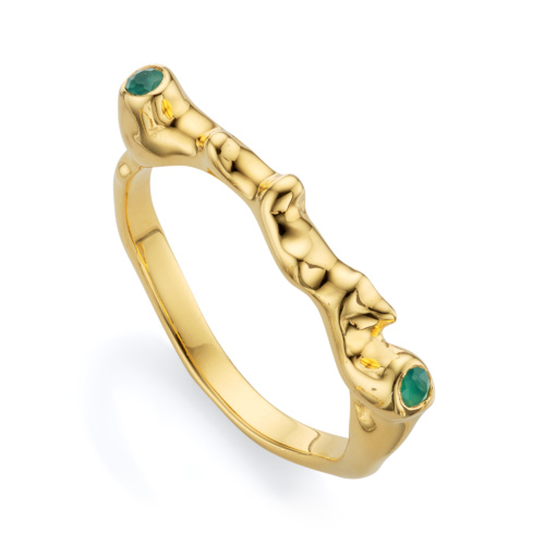 Gold Vermeil Siren Skinny Ring - Green Onyx