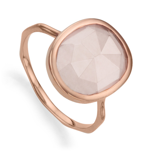 Rose Gold Vermeil Siren Medium Stacking Ring - Rose Quartz