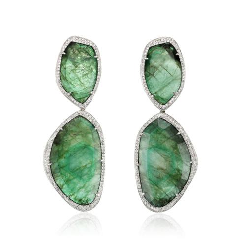 Gala Cocktail Earrings - Emerald - Monica Vinader